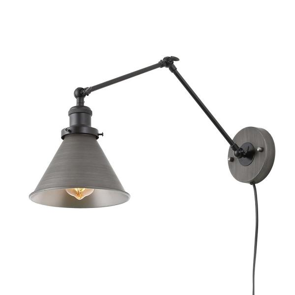 Lnc 1 Light Dark Gray Wall Lamp Adjustable Plug In Wall Sconce A03466 The Home Depot