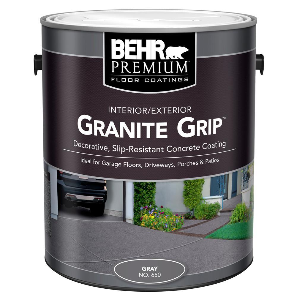 BEHR 1 Gal 65001 Gray Granite Grip InteriorExterior Concrete Paint 65001 The Home Depot