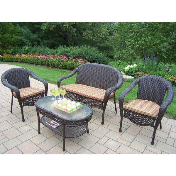 outdoor resin wicker patio furniture sets Oakland Living Elite Resin Wicker 4-Piece Patio Seating