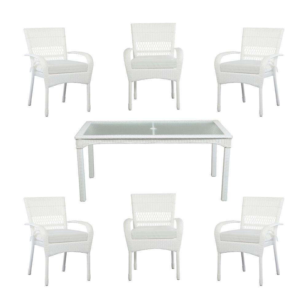 Martha Stewart Living Charlottetown White All-Weather 7 ... on Martha Stewart Wicker Patio Set id=90460