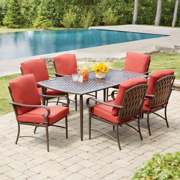 outdoor patio 7 piece dining set Hampton Bay Oak Cliff 7-Piece Metal Outdoor Dining Set