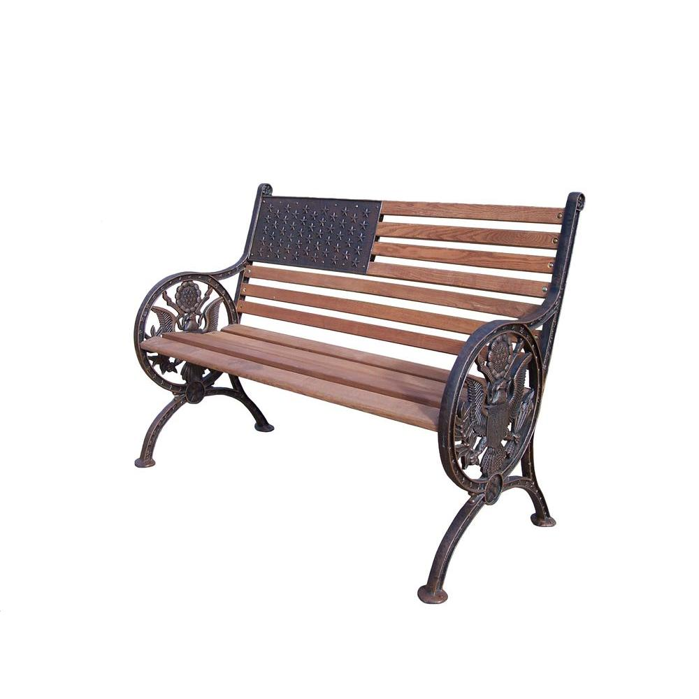 Oakland Living Proud American Patio Bench-6011-AB - The ... on Ab And Outdoor Living  id=31226