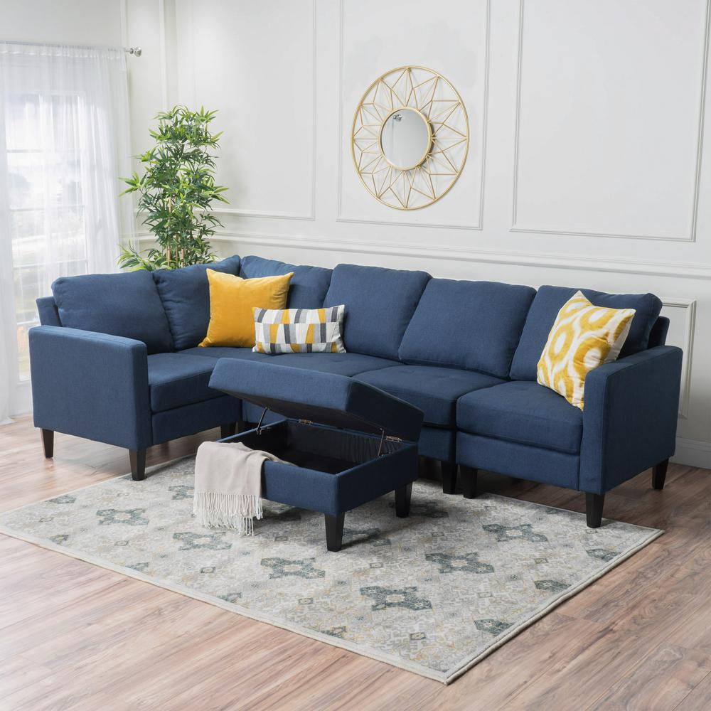 noble house 6 piece dark blue polyester 4 seater l shaped sectional sofa with ottoman 12159 the home depot