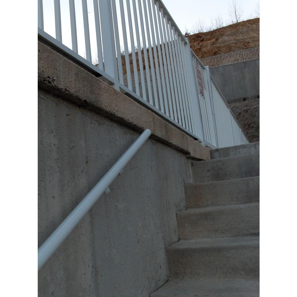 Ez Handrail 8 Ft X 1 9 In White Aluminum Round Ada Handrail   Metal Outdoor Handrails For Stairs   Front Porch   Hand Rail   Concrete Steps   Stainless Steel   Wrought Iron Handrails