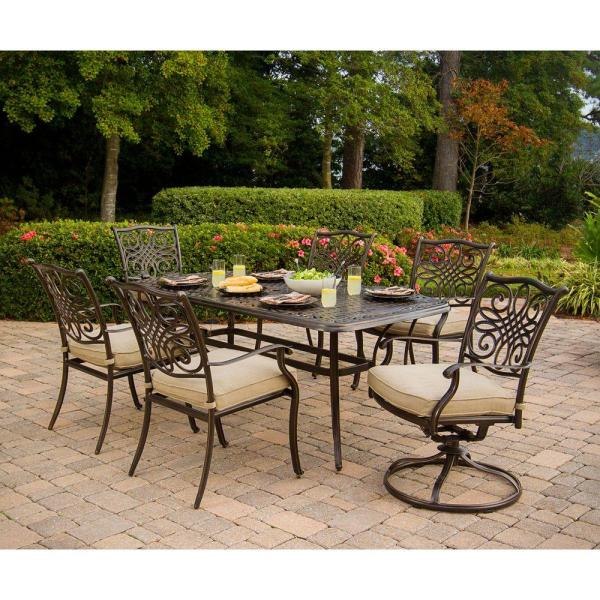 outdoor patio 7 piece dining set Hanover Traditions 7-Piece Patio Outdoor Dining Set with 4