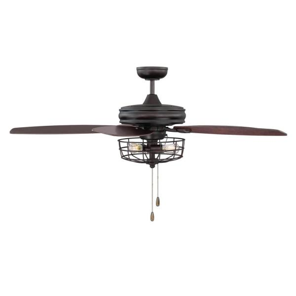 Filament Design 52 in  Oil Rubbed Bronze Ceiling Fan with Metal Wire     Oil Rubbed Bronze Ceiling Fan with Metal Wire Cage