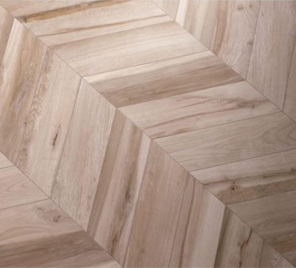 Ivy Hill Tile Solorez Avana Chevron 8 In X 32 In 9Mm Matte | Wood Grain Tile On Stairs | Natural Wood | Contemporary | Basement | Upstairs | Subway Tile