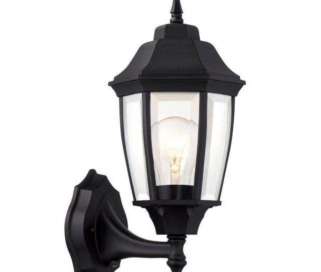 Hampton Bay  Light Black Dusk To Dawn Outdoor Wall Lantern