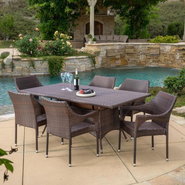 7 piece outdoor wicker patio dining sets Noble House Sinclair Multi-Brown 7-Piece Wicker Outdoor