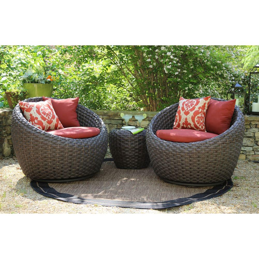 ae outdoor corona 3 piece all weather wicker patio deep seating set with sunbrella red cushions dps101170 the home depot