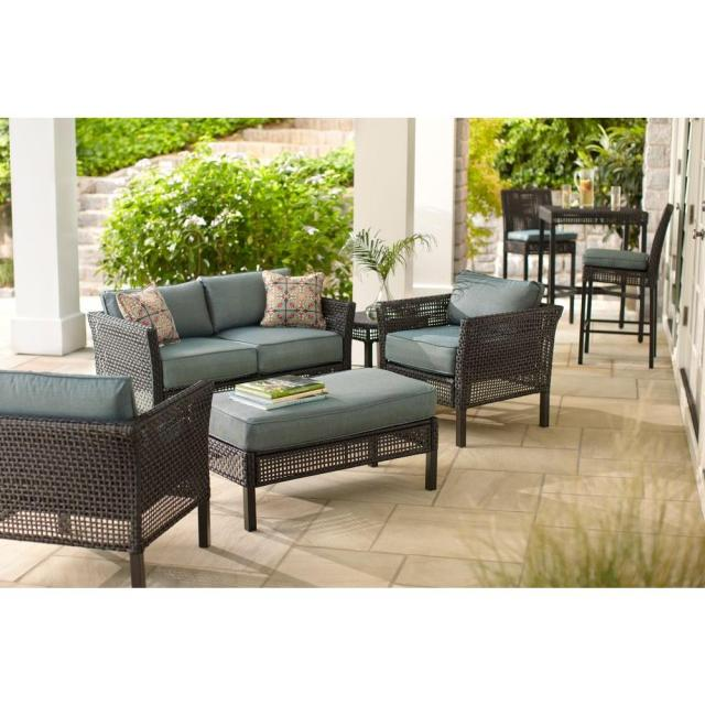 hampton bay fenton 4-piece wicker outdoor patio seating set with