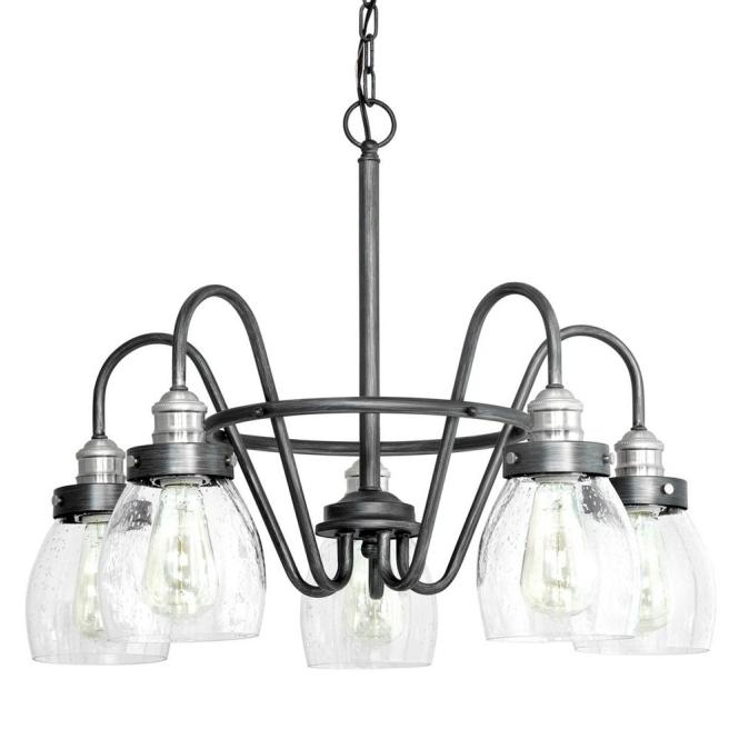 Progress Lighting Crofton Collection 5 Light Rustic Pewter Chandelier With Brushed Nickel Accents And Clear