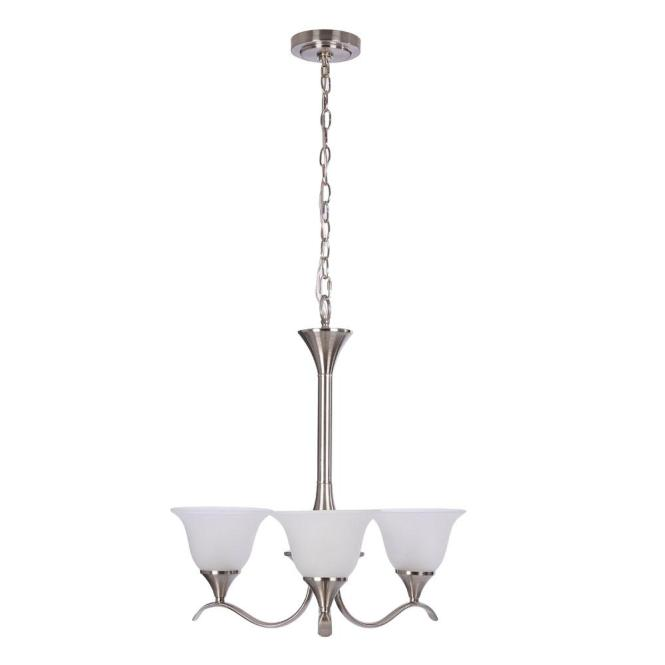 Hampton Bay Santa Rita 5 Light Brushed Nickel Chandelier With Glass Shades