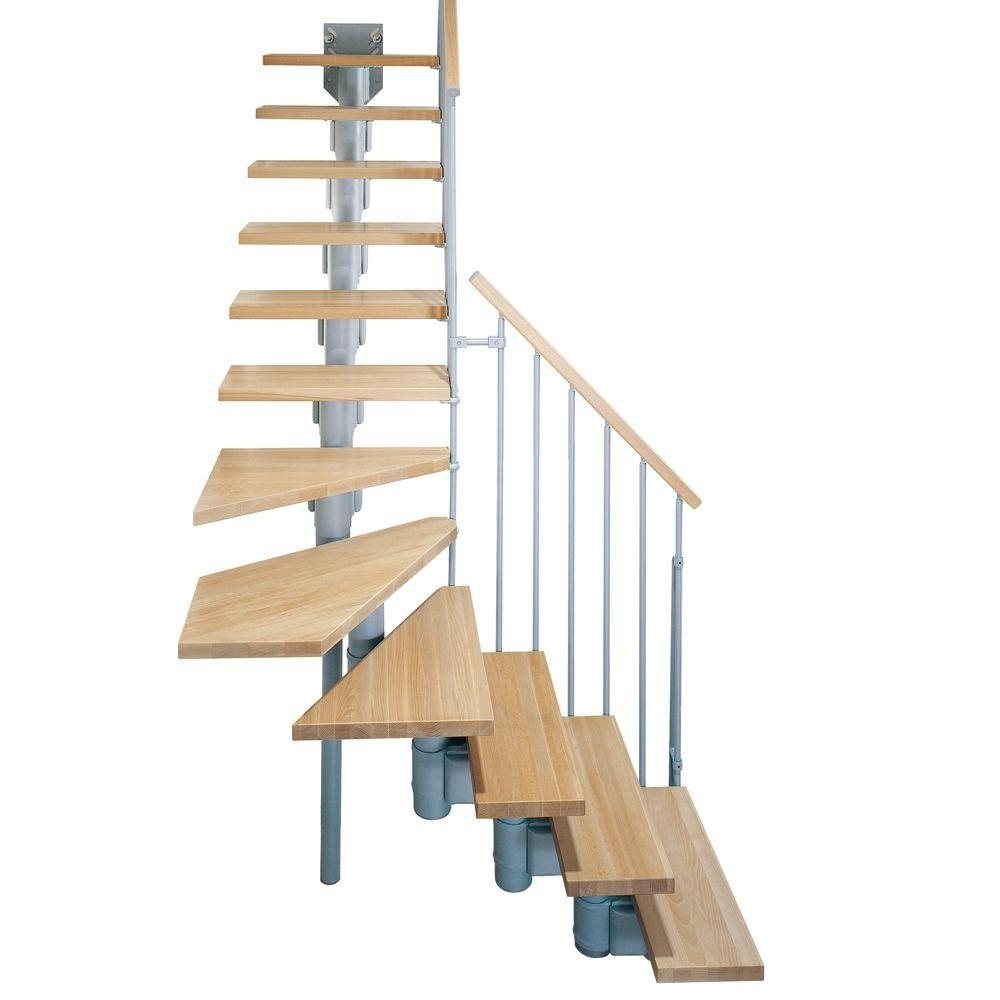 Arke Kompact 29 In Grey Modular Staircase L Kit K35003 The | Prefab Wooden Stairs Home Depot | Front Porch | Stair Case | Stair Stringer | Modular Staircase | Spiral Staircase