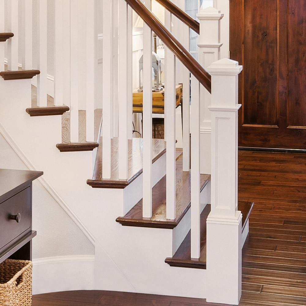 Stair Parts 4093 55 In X 6 1 4 In Primed White Flat Panel Box   Newel Post Cap Designs   Exterior   Porch   Vintage   Fancy   Rustic