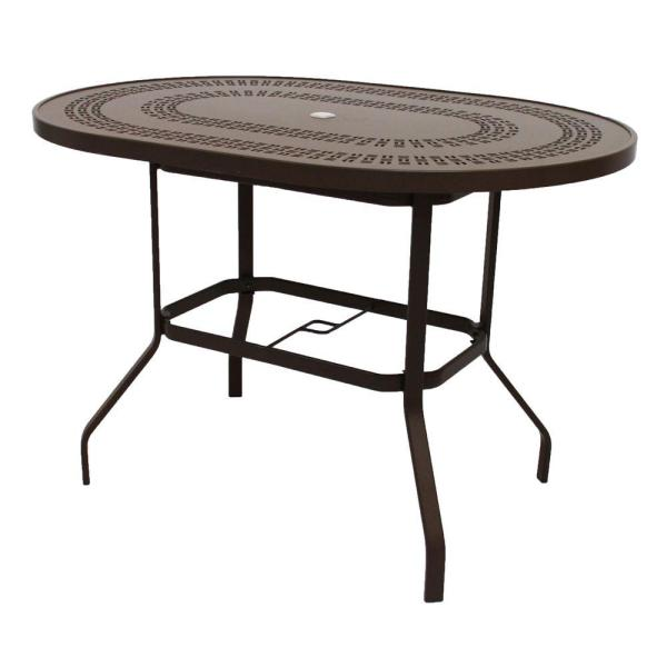 outdoor patio bar height tables Marco Island 42 in. x 60 in. Dark Cafe Brown Oval