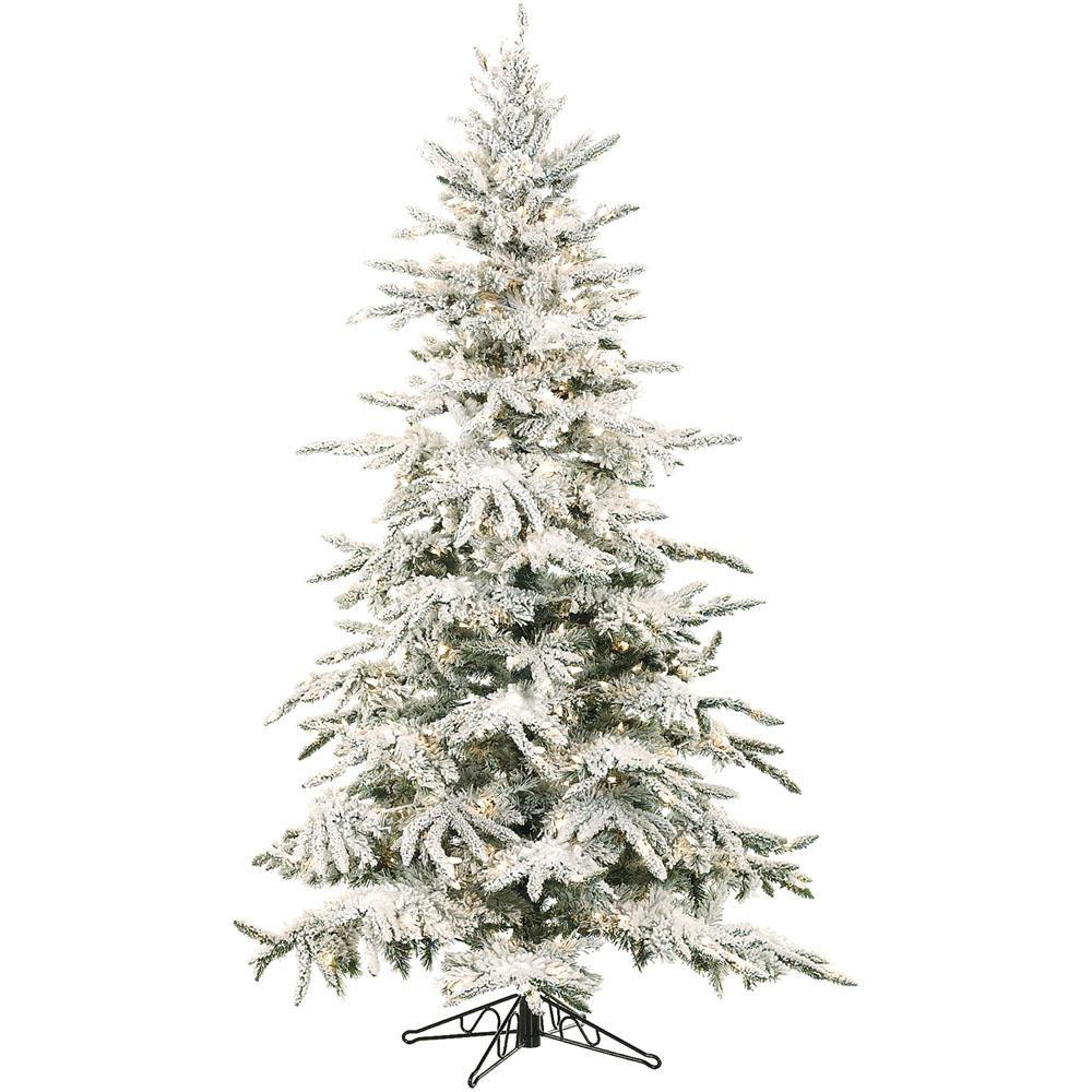 Fraser Hill Farm 9 Ft Pre Lit LED Flocked Mountain Pine