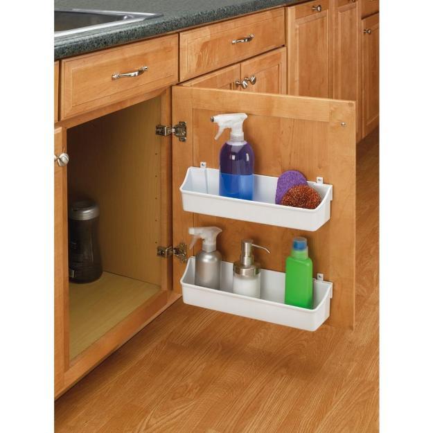 white kitchen cabinet door mount 2 shelf storage bin home organizer
