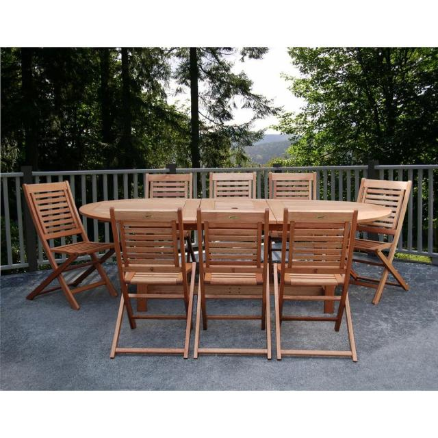 amazonia milano grand 9-piece extendable fsc eucalyptus wood patio