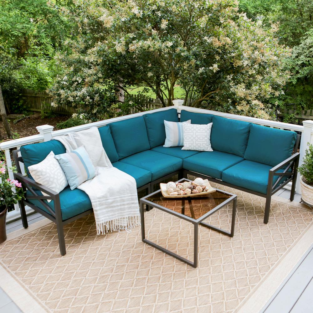 Leisure Made Blakely Black 5-Piece Aluminum Outdoor ... on 5 Piece Sectional Patio Set id=20024