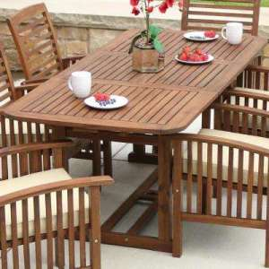 Wood Patio Furniture   Patio Tables   Patio Furniture   The Home Depot Boardwalk Dark Brown Acacia Wood Extendable Outdoor Dining Table