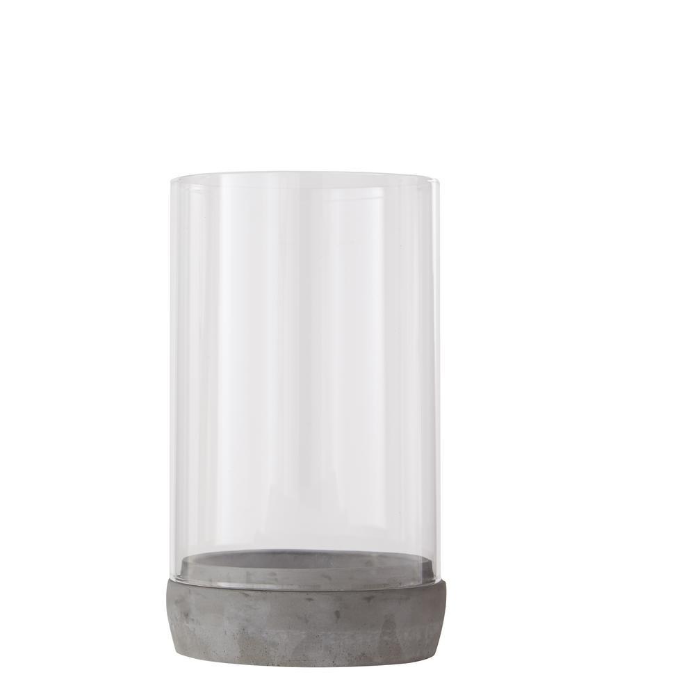 Hampton Bay 9 5 In H Concrete Base Lantern With Glass