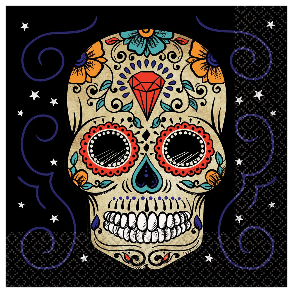 Amscan Sugar Skull Halloween Lunch Napkins 3 Pack 712452 The Home Depot