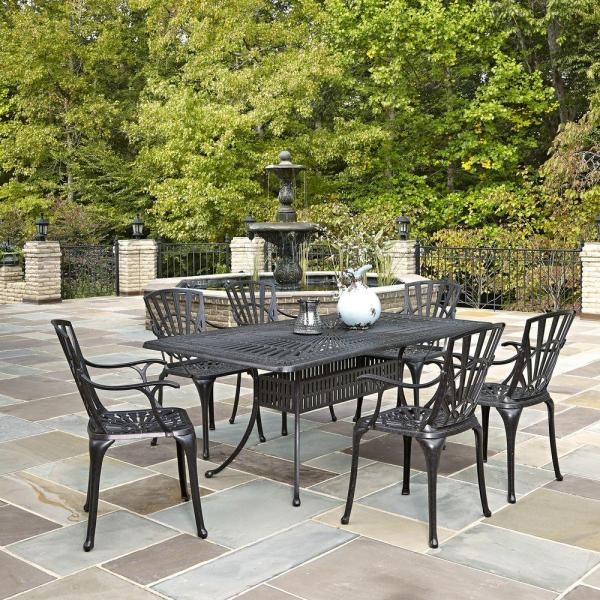 outdoor patio 7 piece dining set Home Styles Largo 7-Piece Outdoor Patio Dining Set-5560