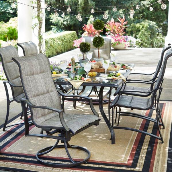 outdoor patio 7 piece dining set Hampton Bay Statesville 7-Piece Padded Sling Patio Dining