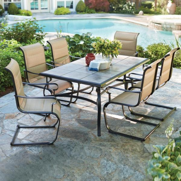 outdoor patio 7 piece dining set 7-Piece Padded Sling Dining Set Fabric Tabletop Outdoor