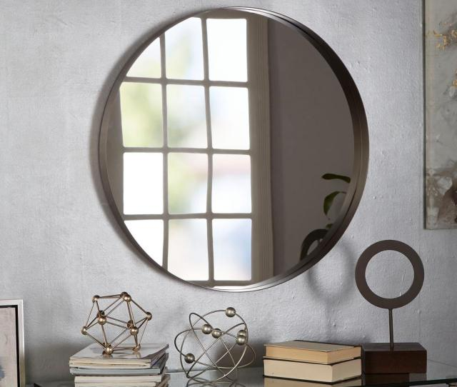 Silverwood Furniture Reimagined Eagan Round Gunmetal Wall Mirror Cpdm1054a The Home Depot