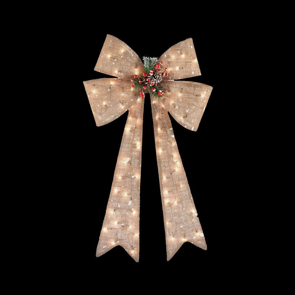 Home Accents Holiday 40 In Pre Lit Burlap Bow TY045 1414