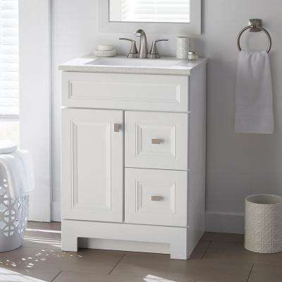 W Bath Vanity In White With Solid Surface