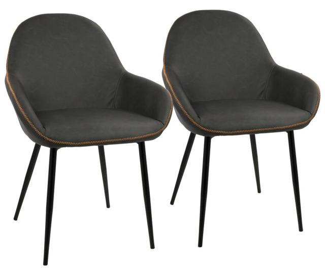 Lumisource Black And Grey Clubhouse Vintage Faux Leather Dining Chair Set Of 2 Dc Clb Bkgy2 The Home Depot