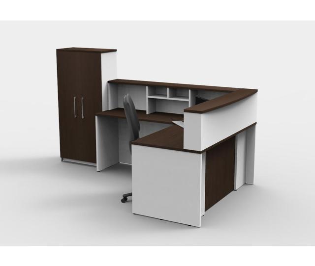 Ofislite  Piece White Espresso Office Reception Desk Collaboration Center