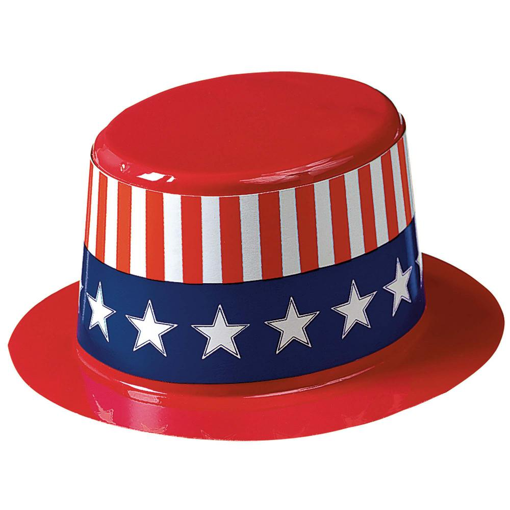 Amscan 2 5 In X 4 5 In Mini Patriotic Top Hats 24 Count 253001 The Home Depot