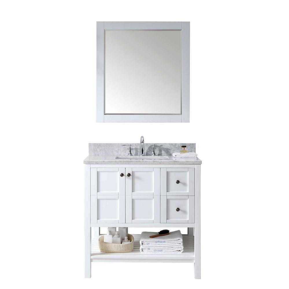 virtu usa winterfell 36 in w bath vanity in white with marble vanity top in