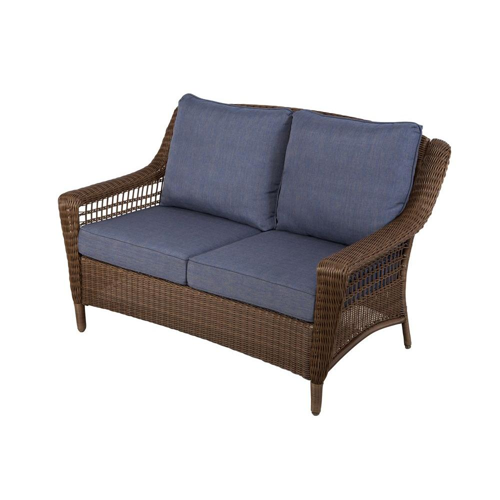 Outdoor Loveseats   Outdoor Lounge Furniture   The Home Depot Spring Haven Brown All Weather Wicker Outdoor Patio Loveseat with Sky Blue  Cushions