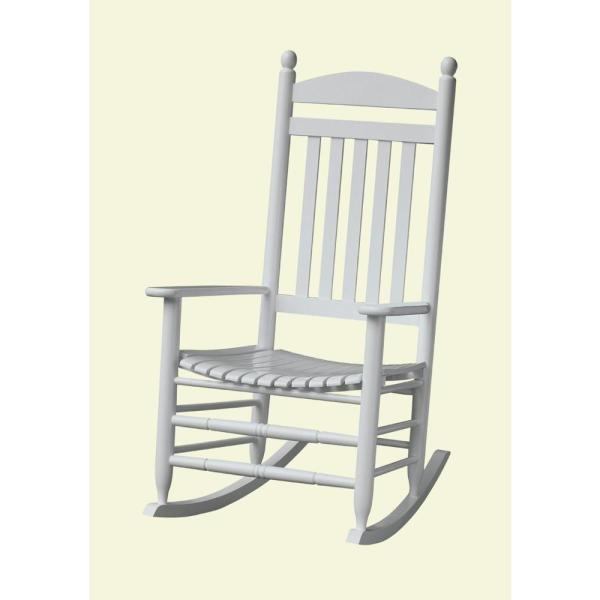 Wood Patio Furniture   Patio Furniture   Outdoors   The Home Depot Bradley White Slat Patio Rocking Chair