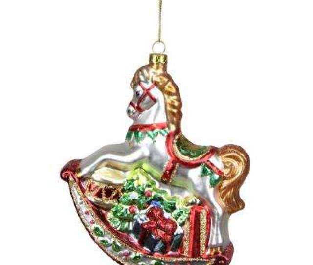 White Glittered Traditional Rocking Horse Glass Christmas Ornament