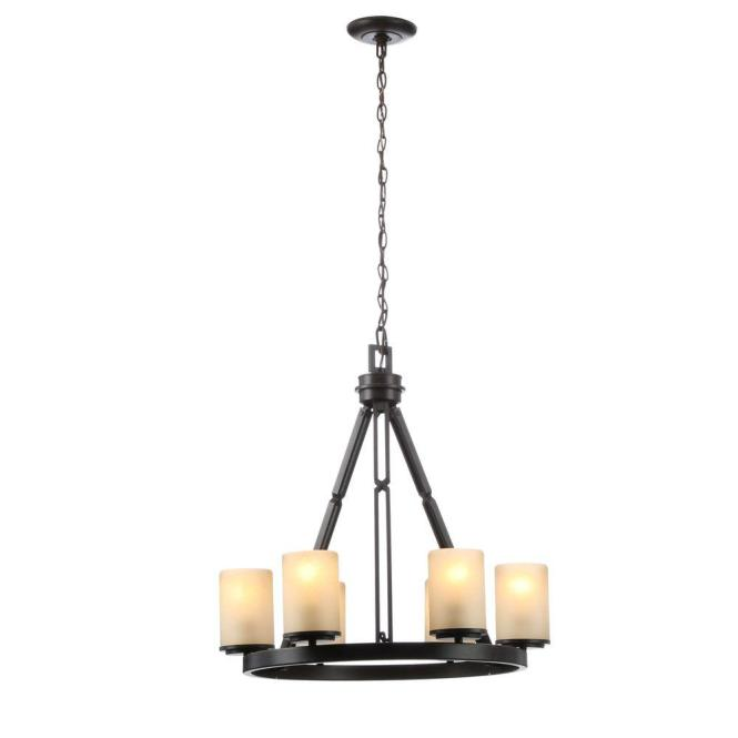 Hampton Bay Alta Loma 6 Light Bronze Dark Ridge Chandelier 27055 The Home Depot