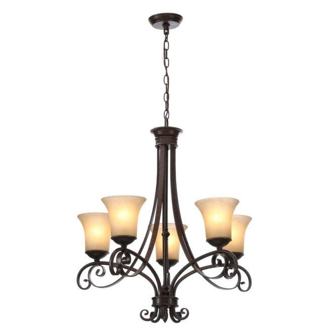 Es 5 Light Aged Black Chandelier With Tea Stained Glass Shades