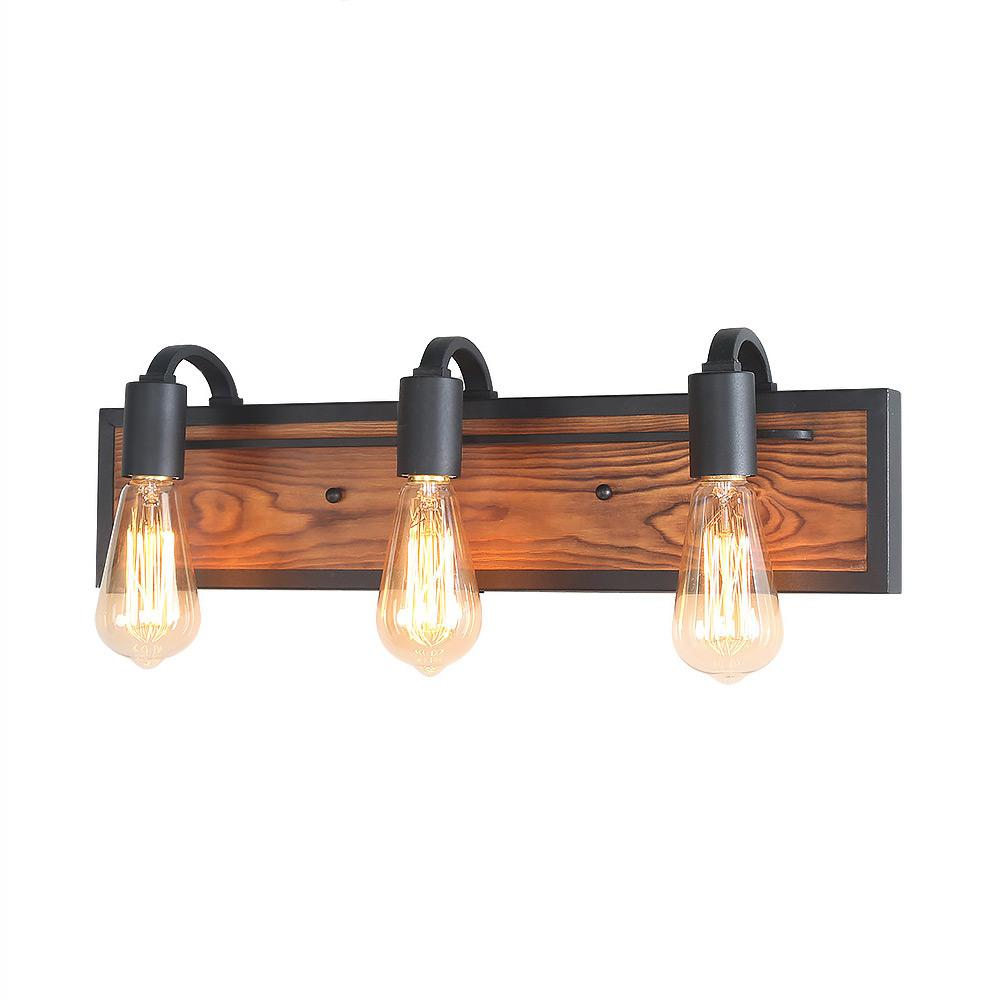 LNC 3-Light Black Rustic Bathroom Lighting Wood Wall ... on Wood Wall Sconces id=73413