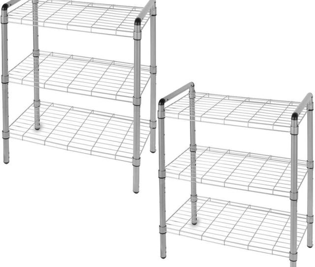 3 Tier Quick Rack Adjustable Wire Shelving Organizer 2 Pack