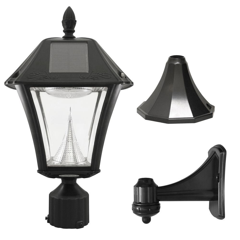 Black Led Outdoor Resin Solar Post Wall Light