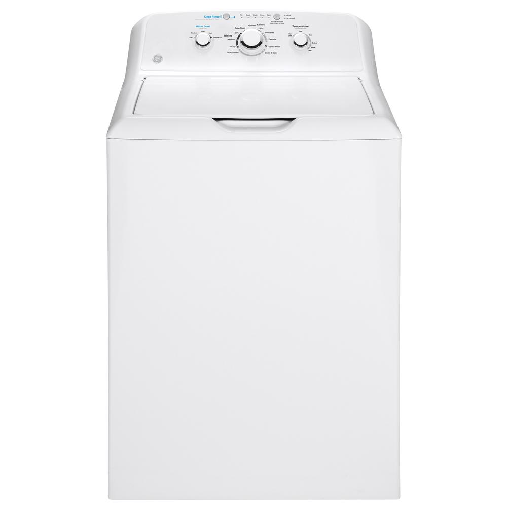 Ge 4 2 Cu Ft White Top Load Washing Machine With Stainless Steel Basket Gtw335asnww The Home Depot