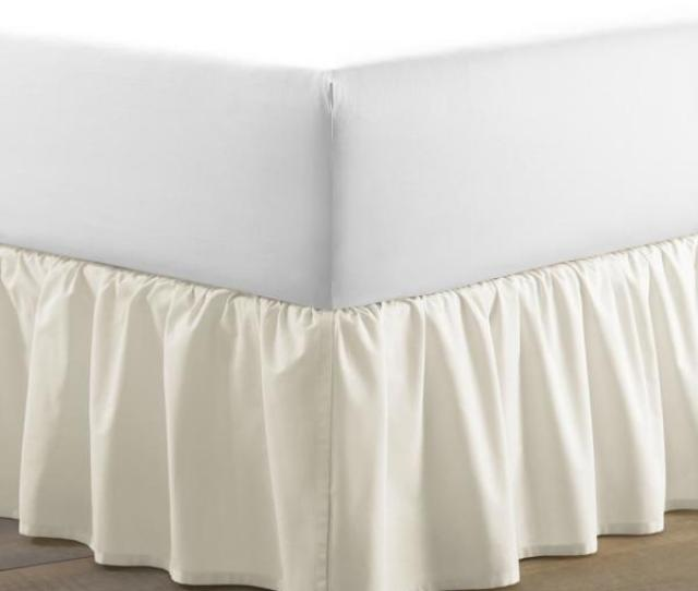 Solid White Queen Ruffled Bed Skirt