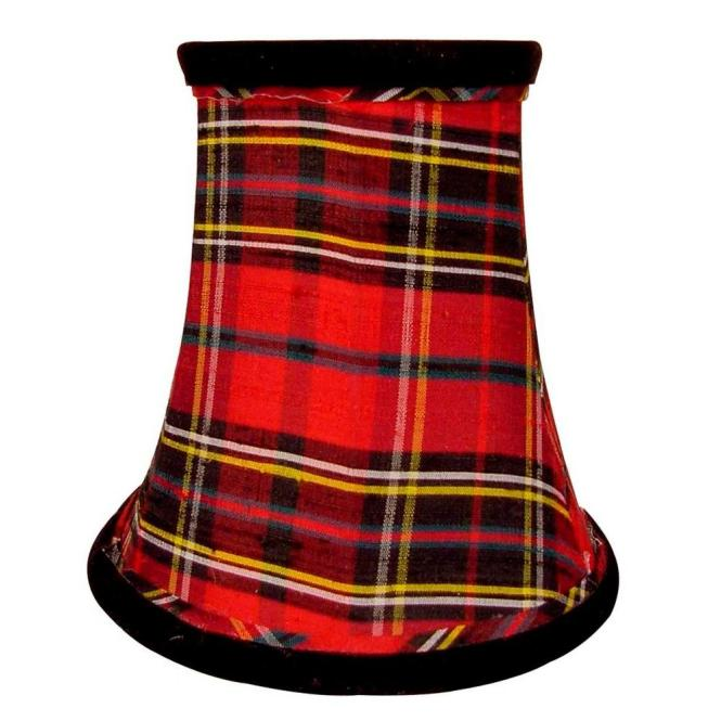 Finishing Touch Stretch Bell Plaid Dupione Silk Chandelier Shade With Black Velvet Trim