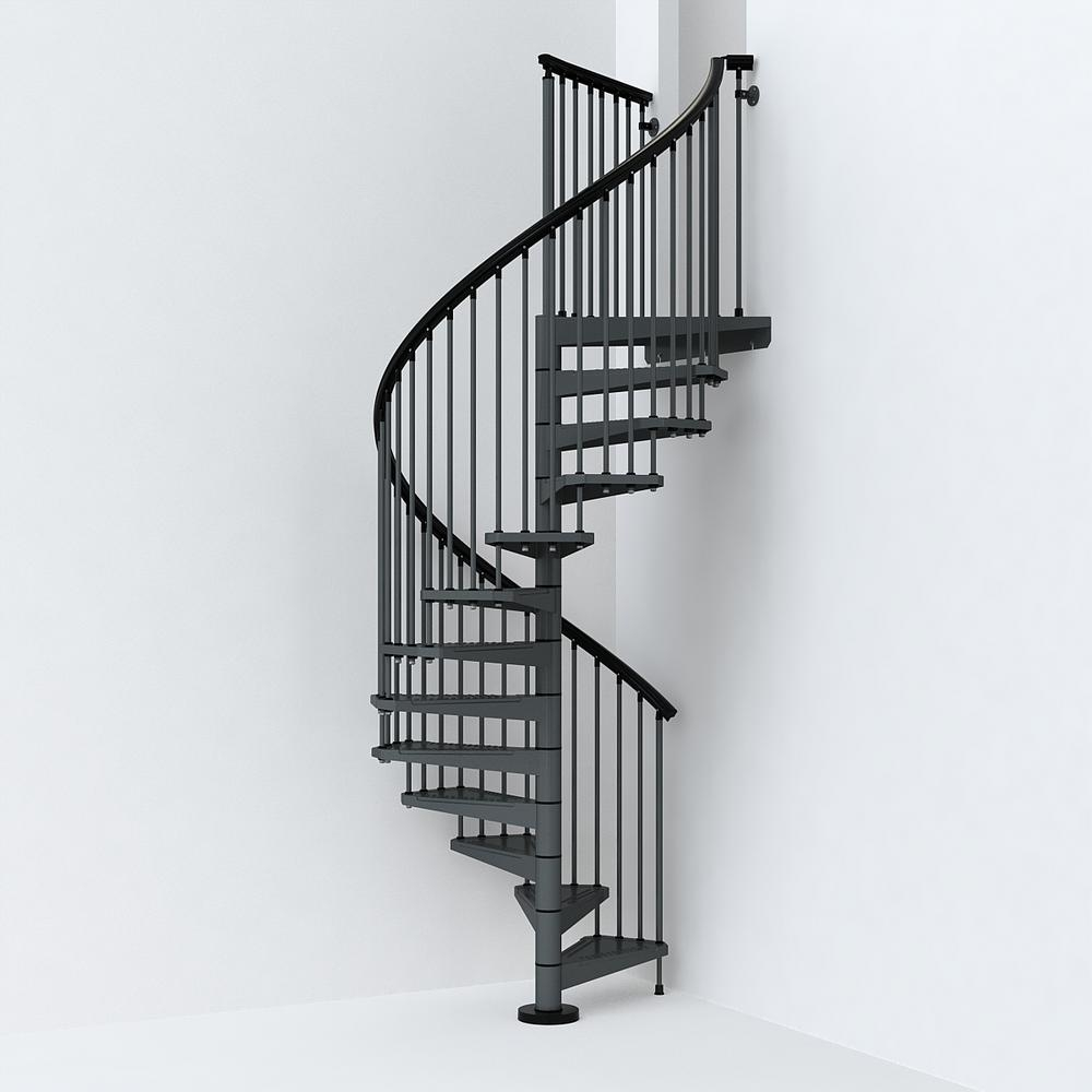 Sky030 55 In Iron Grey Spiral Staircase Kit K26286 The Home Depot   Spiral Staircase Home Depot   Steel   90 Degree   Alternating Tread   Outdoor   Small Metal