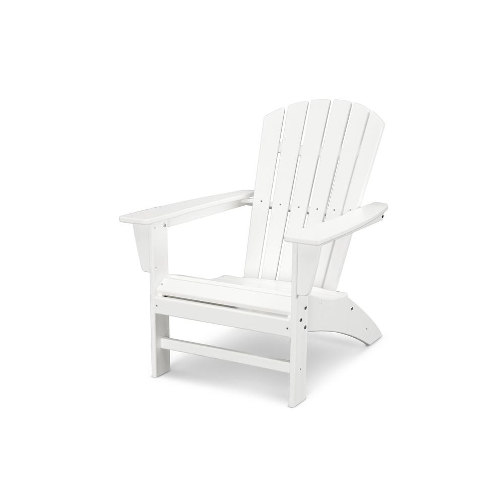 Traditional Curveback White Plastic Outdoor Patio Adirondack Chair
